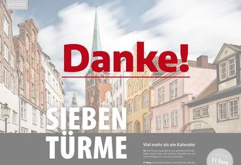 Das Titelblatt des Sieben-Türme-Kalenders ist im Hintergrund. In dicker lila Schrift steht eine Danke! in Großbuchstaben. - Copyright: Andreas Schwiederski
