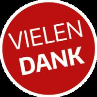 Runder magentafarbener Button mit der Aufschrift in Großbuchstaben Vielen Dank! - Copyright: Ev.-Luth. Kirchenkreis Lübeck-Lauenburg