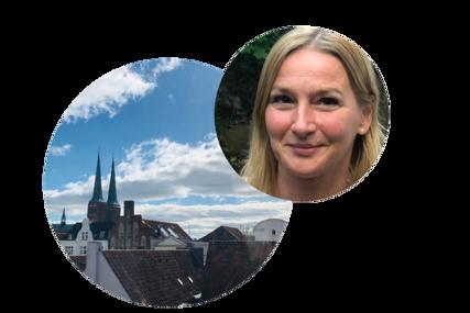 links ein großer Kreis mit den Dächern von Lübeck, im Hintergrund der Dom zu Lübeck. Schräg rechts überlappt ein kleinerer Kreis mit frm Gesicht von Steffi Niemann - Copyright: Steffi Niemann